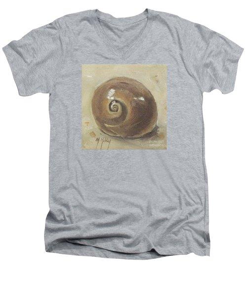 Seashell Beach Moon Shell Snail  Men's V-Neck T-Shirt by Mary Hubley