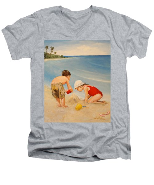 Men's V-Neck T-Shirt featuring the painting Seashell Sand And A Solo Cup by Alan Lakin