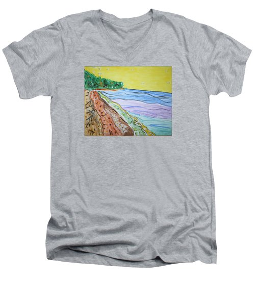Men's V-Neck T-Shirt featuring the painting Seashore Bright Sky by Stormm Bradshaw