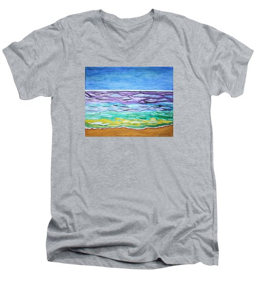 Men's V-Neck T-Shirt featuring the painting Seashore Blue Sky by Stormm Bradshaw