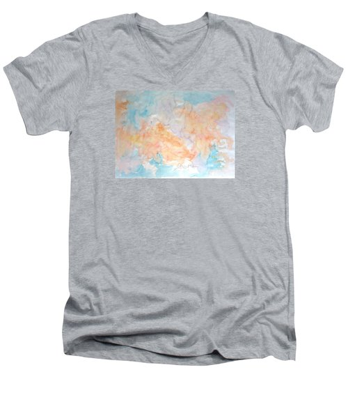 Men's V-Neck T-Shirt featuring the painting Seaside In Summer by Esther Newman-Cohen