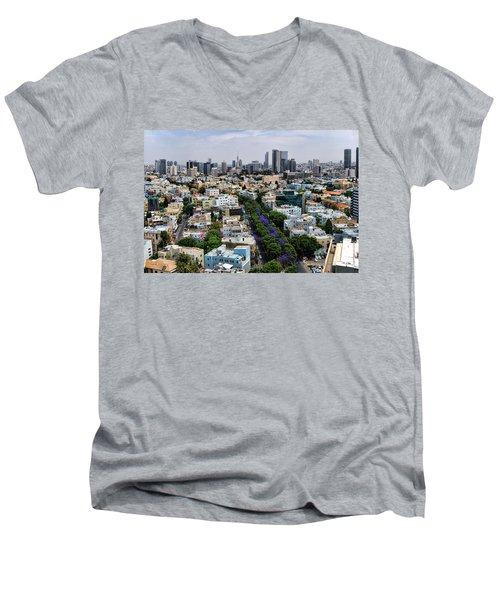 season change at Rothschild boulevard  Men's V-Neck T-Shirt