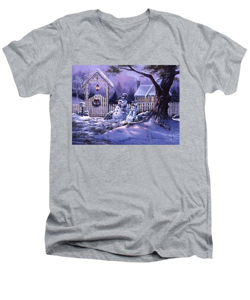 Season's Greeters Men's V-Neck T-Shirt by Michael Humphries