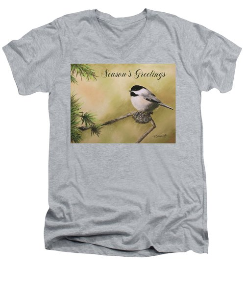 Season's Greetings Chickadee Men's V-Neck T-Shirt