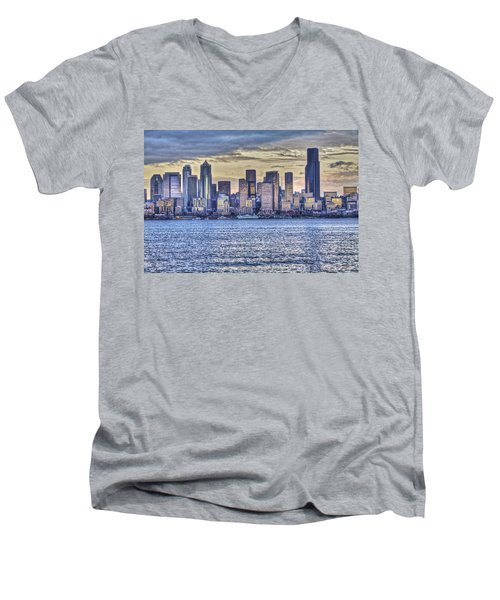 Seattle At Twilight From Alki Beach Men's V-Neck T-Shirt