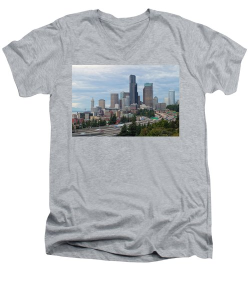 Men's V-Neck T-Shirt featuring the photograph Seattle Downtown Skyline On A Cloudy Day by JPLDesigns