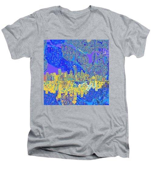 Seattle Skyline Abstract 6 Men's V-Neck T-Shirt
