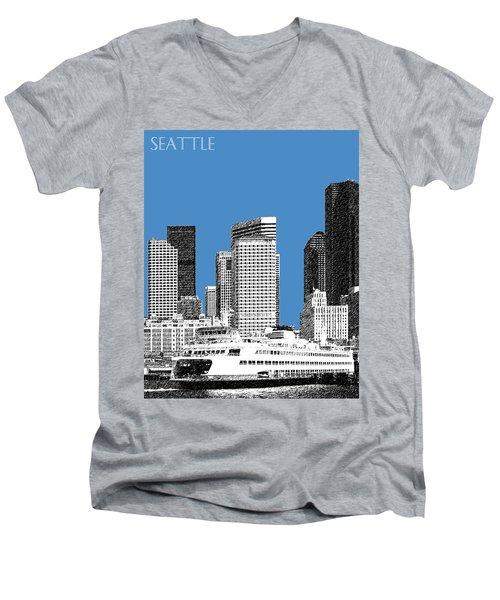 Seattle Skyline - Slate Men's V-Neck T-Shirt