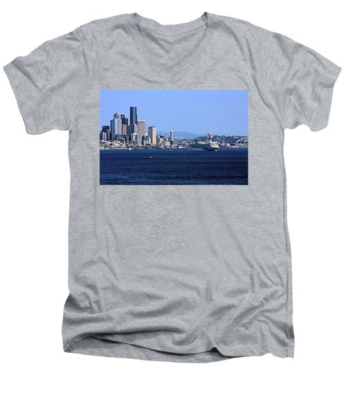 Men's V-Neck T-Shirt featuring the photograph Seattle Skyscrapers by Kristin Elmquist