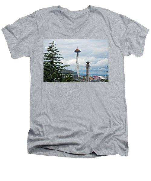 Seattle Spaceneedle Golden Anniversary Art Prints Men's V-Neck T-Shirt