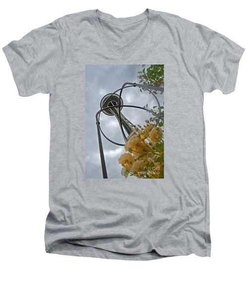 Seattle Spaceneedle With Watercolor Effect Yellow Roses Men's V-Neck T-Shirt by Valerie Garner