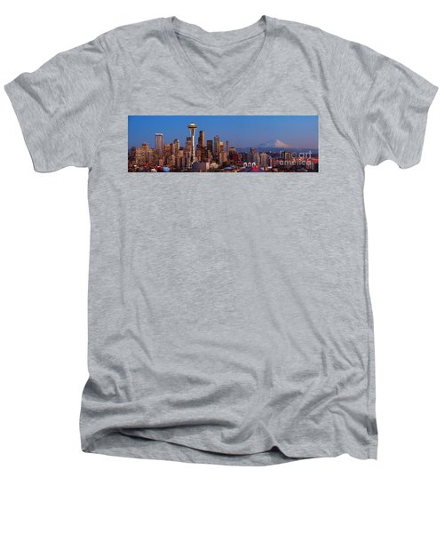 Seattle Winter Evening Panorama Men's V-Neck T-Shirt