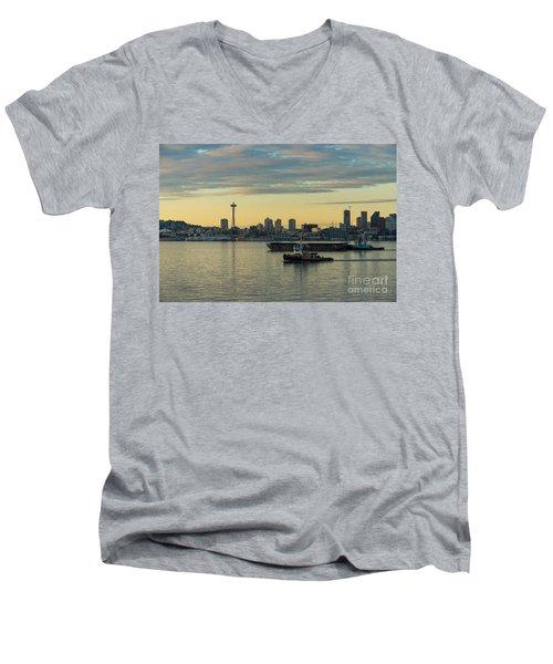 Seattles Working Harbor Men's V-Neck T-Shirt by Mike Reid