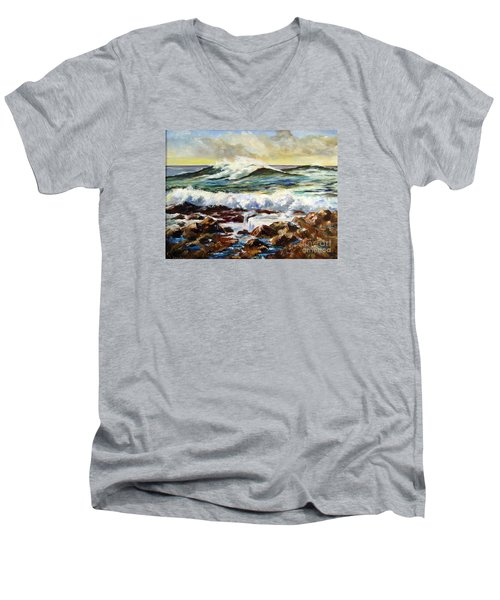 Men's V-Neck T-Shirt featuring the painting Seawall by Lee Piper