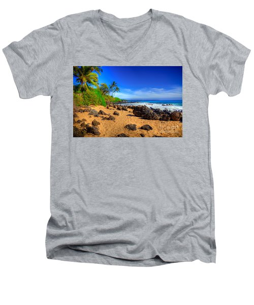 Secret Beach Maui Men's V-Neck T-Shirt by Kelly Wade