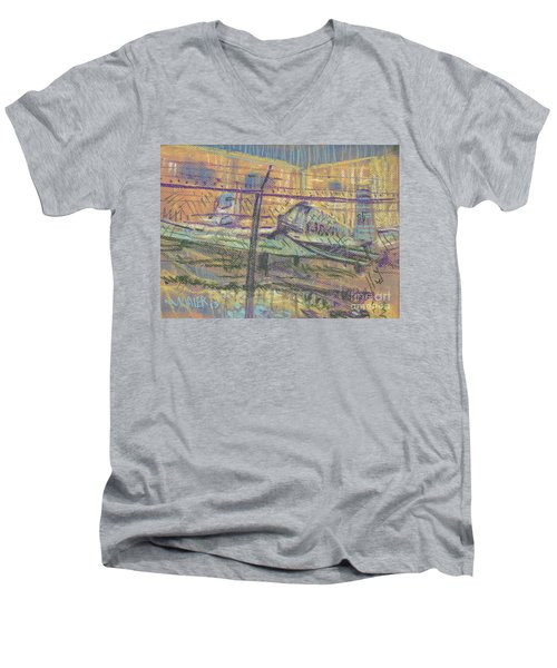 Men's V-Neck T-Shirt featuring the painting Secured Planes by Donald Maier