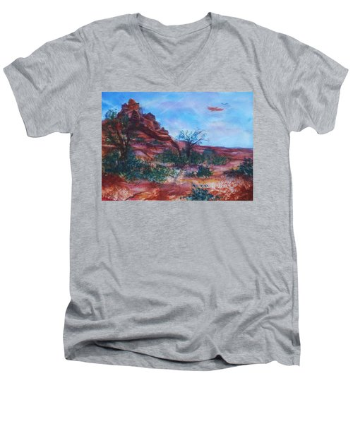 Sedona Red Rocks - Impression Of Bell Rock Men's V-Neck T-Shirt by Ellen Levinson