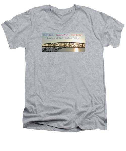 Seize The Day - Annapolis Bay Bridge Men's V-Neck T-Shirt by Emmy Marie Vickers