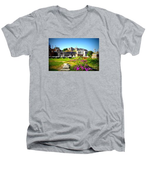 Men's V-Neck T-Shirt featuring the photograph Selcuk Castle by Lou Ann Bagnall