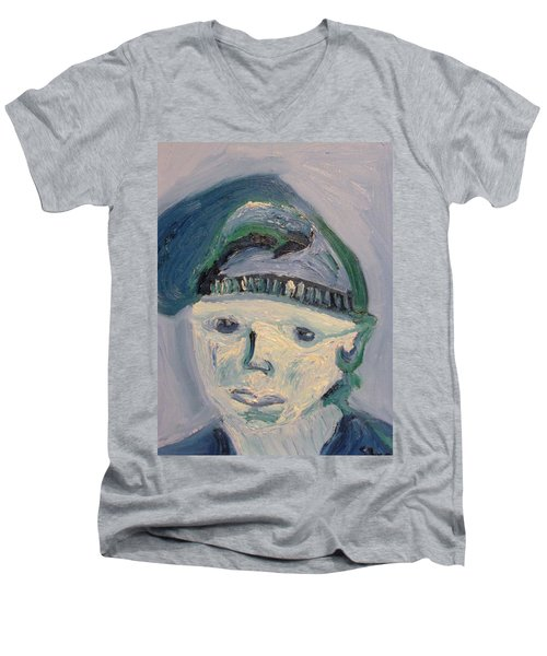 Self Portrait In Blue And Green Men's V-Neck T-Shirt