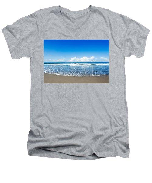 Men's V-Neck T-Shirt featuring the photograph Seminyak Beach by Yew Kwang