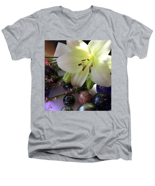 Men's V-Neck T-Shirt featuring the photograph Send The Light Lily With Marbles by Bonnie Willis