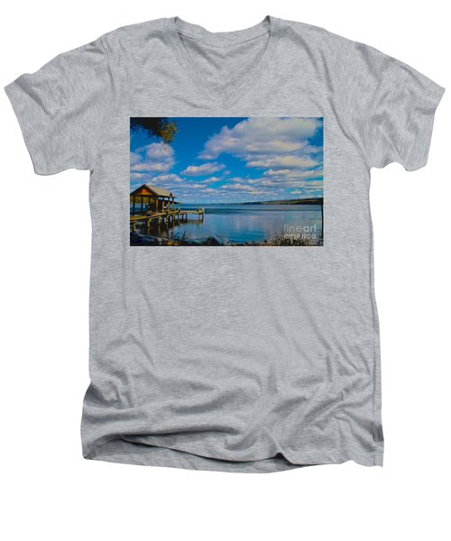 Seneca Lake At Glenora Point Men's V-Neck T-Shirt by William Norton