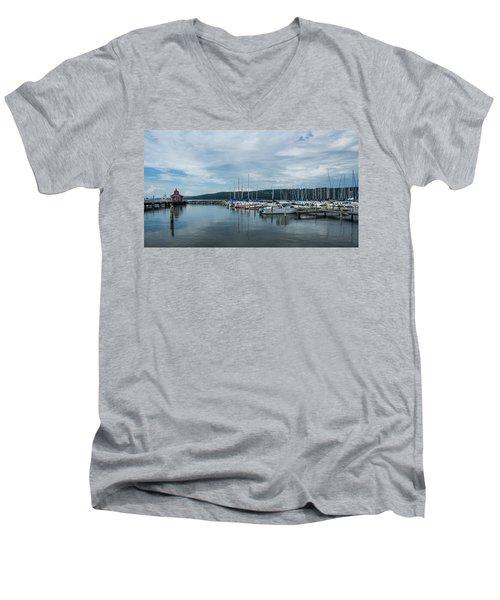 Seneca Lake Harbor - Watkins Glen - Wide Angle Men's V-Neck T-Shirt by Photographic Arts And Design Studio