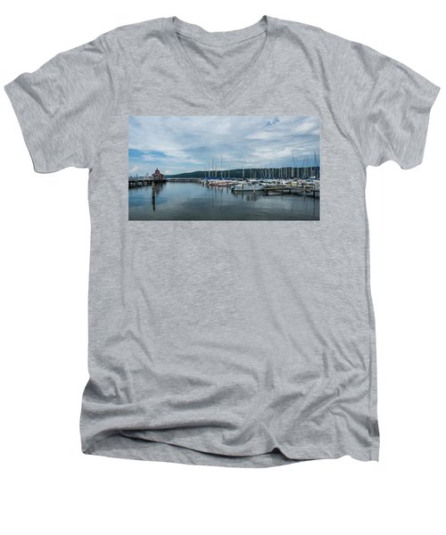Seneca Lake Harbor - Watkins Glen - Wide Angle Men's V-Neck T-Shirt