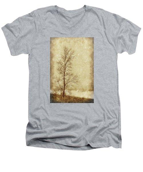 Sentinel Tree In Winter Men's V-Neck T-Shirt by Nikolyn McDonald