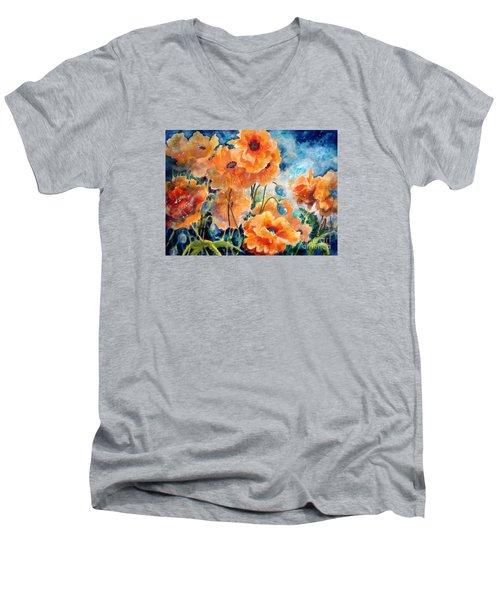 September Orange Poppies            Men's V-Neck T-Shirt by Kathy Braud