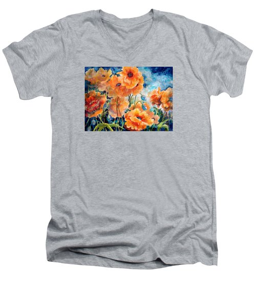 September Orange Poppies            Men's V-Neck T-Shirt