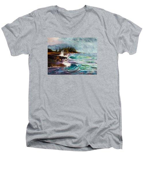 September Storm Lake Superior Men's V-Neck T-Shirt by Kathy Braud