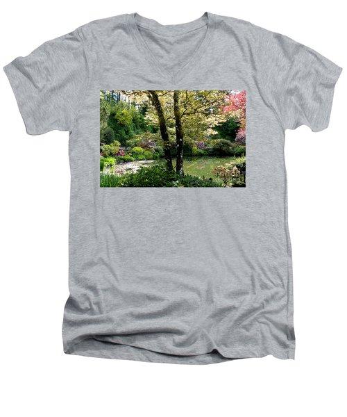 Serene Garden Retreat Men's V-Neck T-Shirt