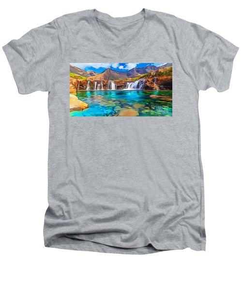 Serene Green Waters Men's V-Neck T-Shirt