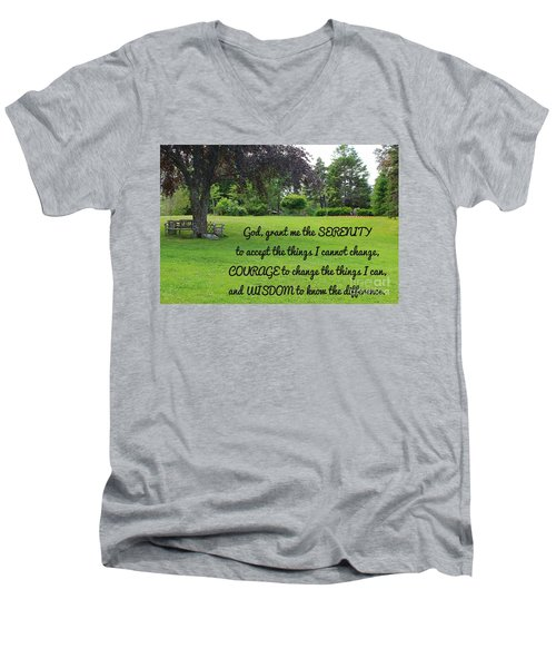 Serenity Prayer And Park Bench Men's V-Neck T-Shirt by Barbara Griffin