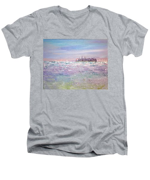 Serenity Sky Men's V-Neck T-Shirt by George Riney