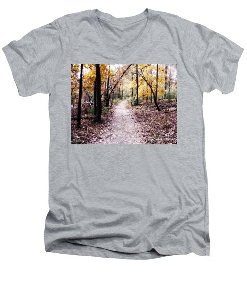 Men's V-Neck T-Shirt featuring the photograph Serenity Walk In The Woods by Peggy Franz