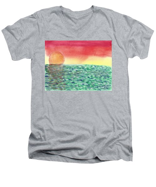 Men's V-Neck T-Shirt featuring the painting Setting Sea by John Williams