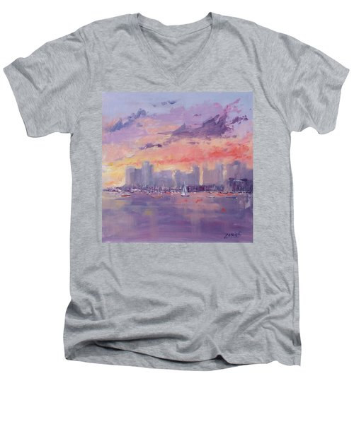 Men's V-Neck T-Shirt featuring the painting Setting Sun Over Boston  by Laura Lee Zanghetti