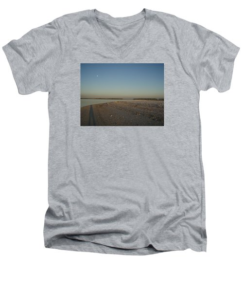 Men's V-Neck T-Shirt featuring the photograph Shadow Moon by Robert Nickologianis