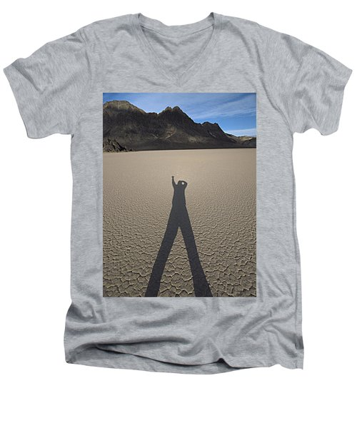 Men's V-Neck T-Shirt featuring the photograph Shadowman by Joe Schofield
