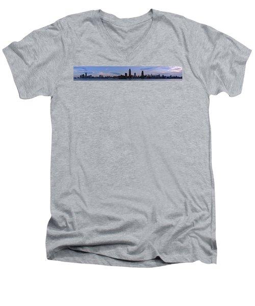 Shanghai Bund Panorama - Dusk Men's V-Neck T-Shirt