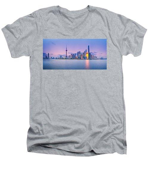 Shanghai Pudong Skyline  Men's V-Neck T-Shirt