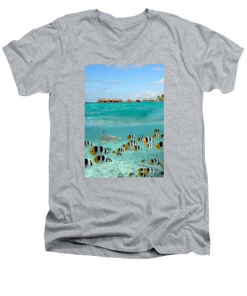 Over-under With Shark And Butterfly Fish At Bora Bora Men's V-Neck T-Shirt