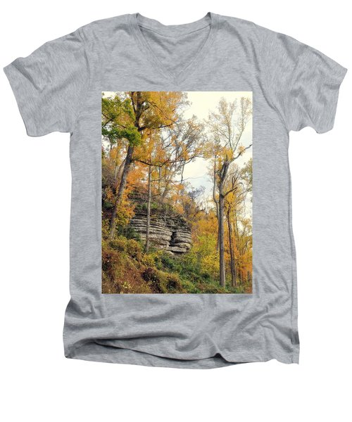 Men's V-Neck T-Shirt featuring the photograph Shawee Bluff In Fall by Marty Koch