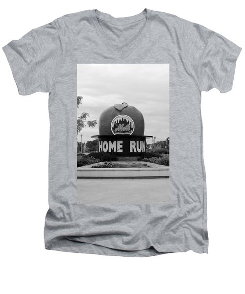 Shea Stadium Home Run Apple In Black And White Men's V-Neck T-Shirt by Rob Hans