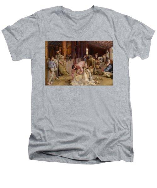 Shearing The Rams  Men's V-Neck T-Shirt by Tom Roberts