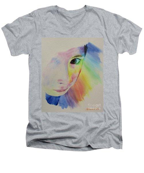 She's A Rainbow Men's V-Neck T-Shirt by Martin Howard