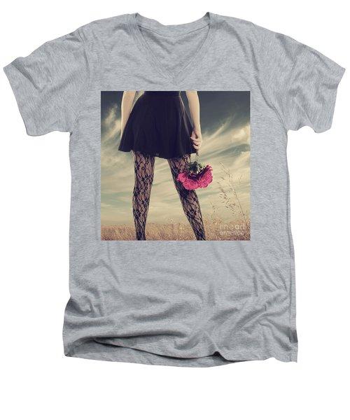 Men's V-Neck T-Shirt featuring the digital art She's Got Legs by Linda Lees